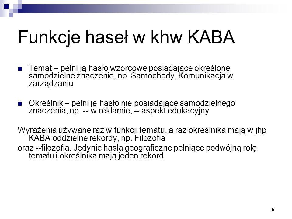 5 Funkcje haseł w khw KABA Temat – pełni ją hasło wzorcowe posiadające określone samodzielne znaczenie, np. Samochody, Komunikacja w zarządzaniu Okreś