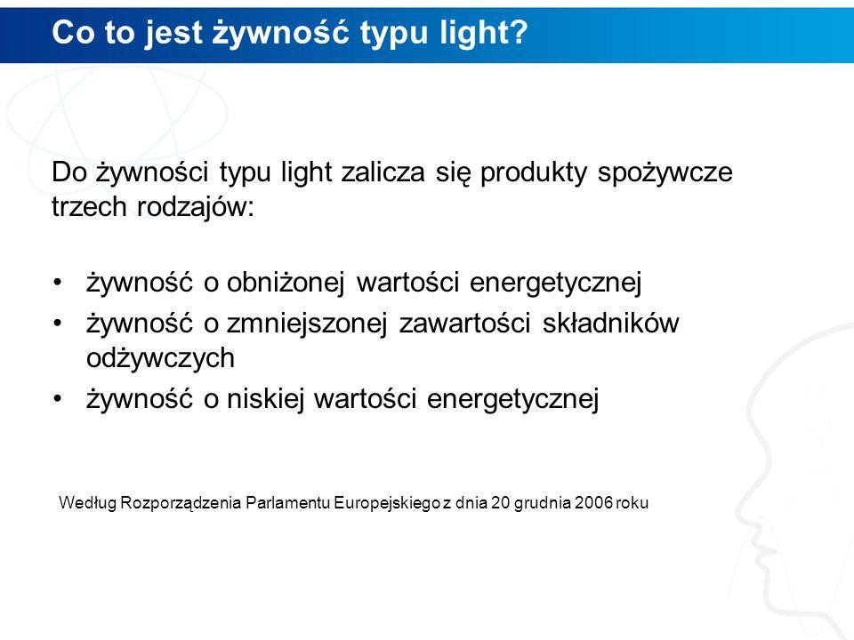 Co to jest żywność typu light? Według Rozporządzenia Parlamentu Europejskiego z dnia 20 grudnia 2006 roku Do żywności typu light zalicza się produkty