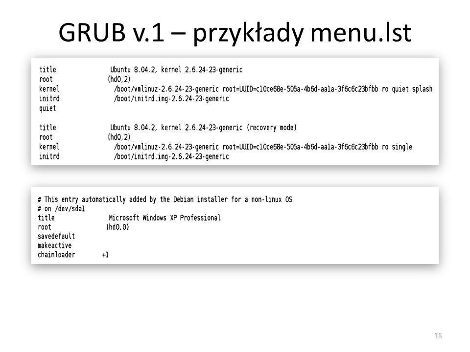 GRUB v.1 – przykłady menu.lst 18
