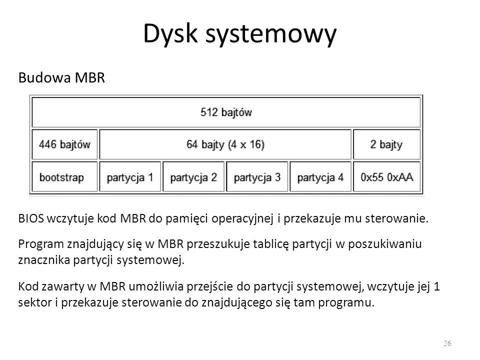 Dysk systemowy 26 Budowa MBR BIOS wczytuje kod MBR do pamięci operacyjnej i przekazuje mu sterowanie. Program znajdujący się w MBR przeszukuje tablicę