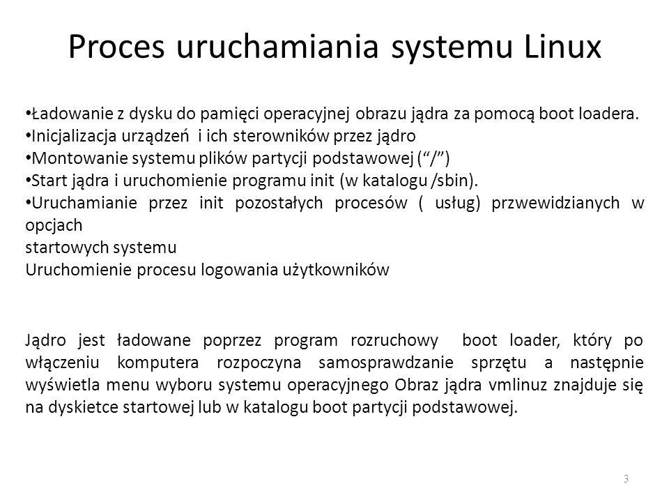 Proces uruchamiania systemu Linux 3 Ładowanie z dysku do pamięci operacyjnej obrazu jądra za pomocą boot loadera. Inicjalizacja urządzeń i ich sterown