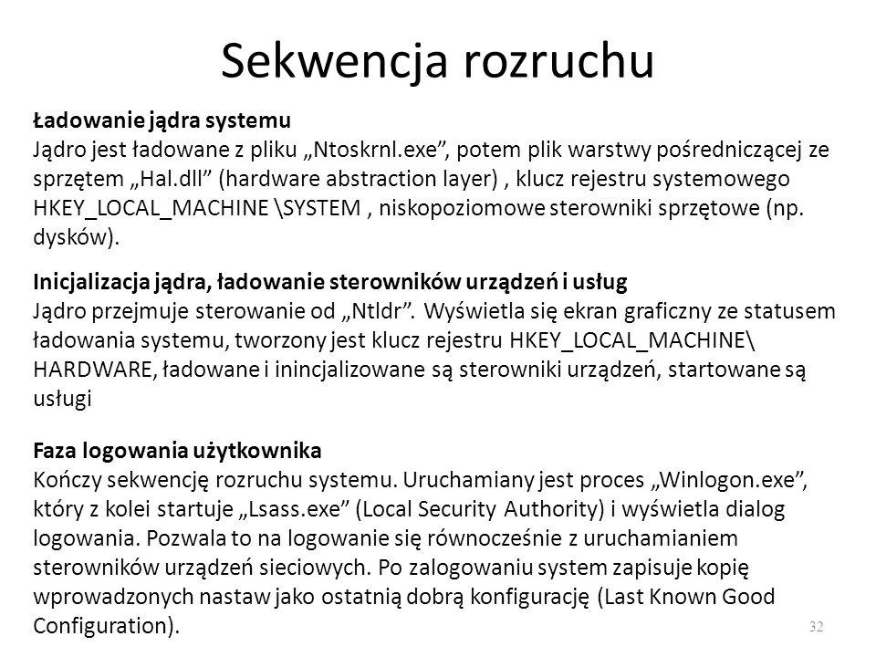 """Sekwencja rozruchu 32 Ładowanie jądra systemu Jądro jest ładowane z pliku """"Ntoskrnl.exe"""", potem plik warstwy pośredniczącej ze sprzętem """"Hal.dll"""" (har"""