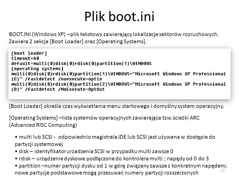 Plik boot.ini 33 BOOT.INI (Windows XP) –plik tekstowy zawierający lokalizacje sektorów rozruchowych. Zawiera 2 sekcje [Boot Loader] oraz [Operating Sy