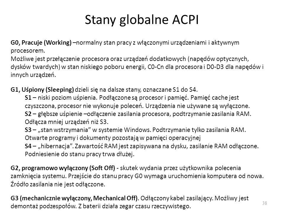 Stany globalne ACPI 38 G0, Pracuje (Working) –normalny stan pracy z włączonymi urządzeniami i aktywnym procesorem. Możliwe jest przełączenie procesora