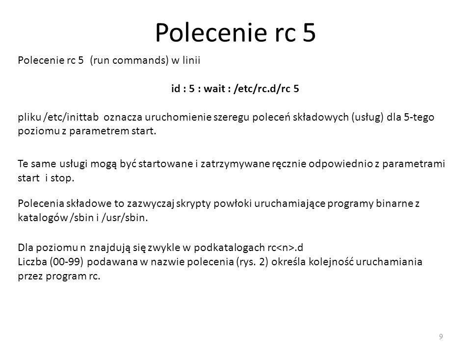 Polecenie rc 5 9 Polecenie rc 5 (run commands) w linii id : 5 : wait : /etc/rc.d/rc 5 pliku /etc/inittab oznacza uruchomienie szeregu poleceń składowy