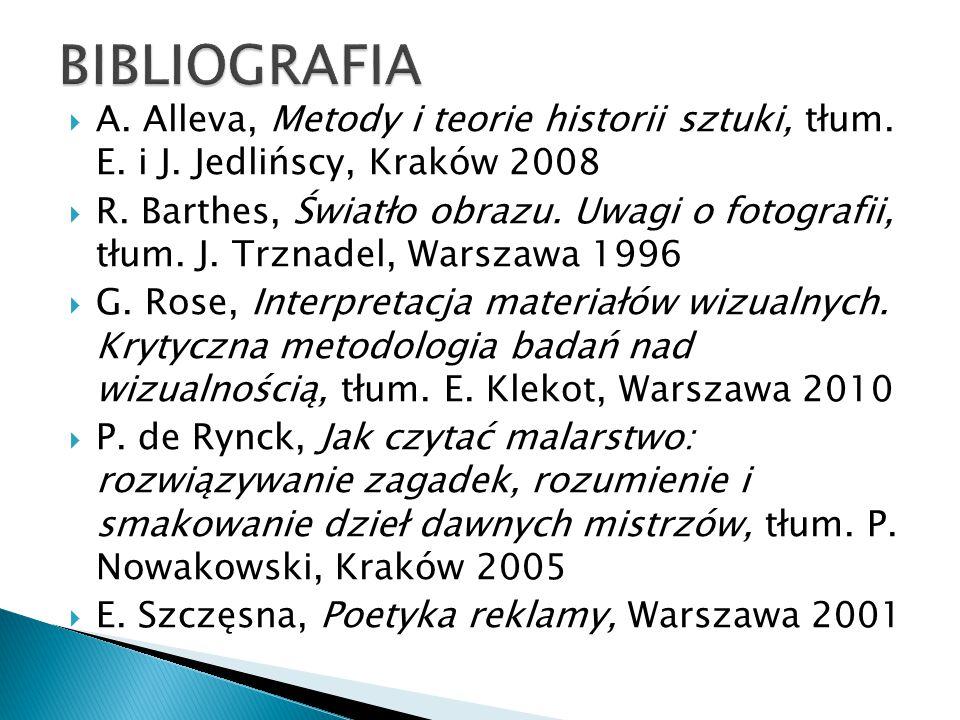  A. Alleva, Metody i teorie historii sztuki, tłum. E. i J. Jedlińscy, Kraków 2008  R. Barthes, Światło obrazu. Uwagi o fotografii, tłum. J. Trznadel