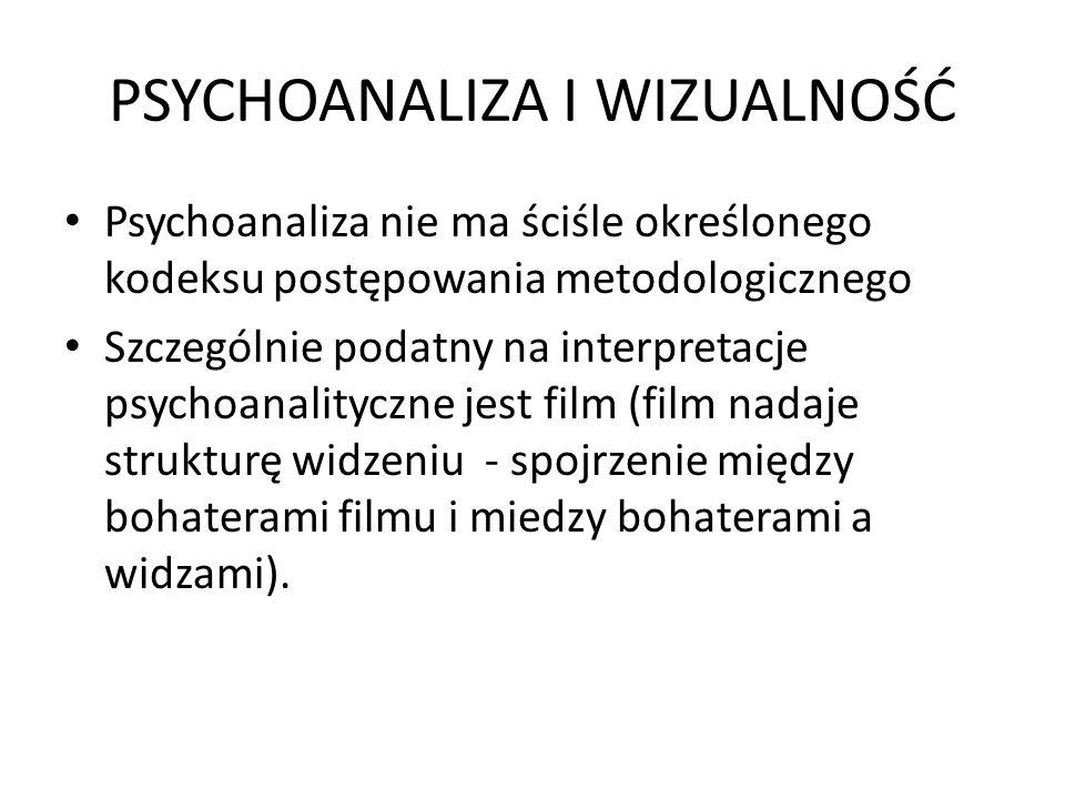 PSYCHOANALIZA I WIZUALNOŚĆ Psychoanaliza nie ma ściśle określonego kodeksu postępowania metodologicznego Szczególnie podatny na interpretacje psychoan