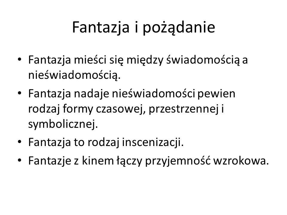 Fantazja i pożądanie Fantazja mieści się między świadomością a nieświadomością. Fantazja nadaje nieświadomości pewien rodzaj formy czasowej, przestrze