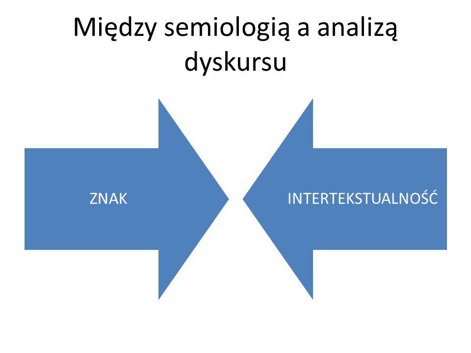 Między semiologią a analizą dyskursu ZNAK INTERTEKSTUALNOŚĆ