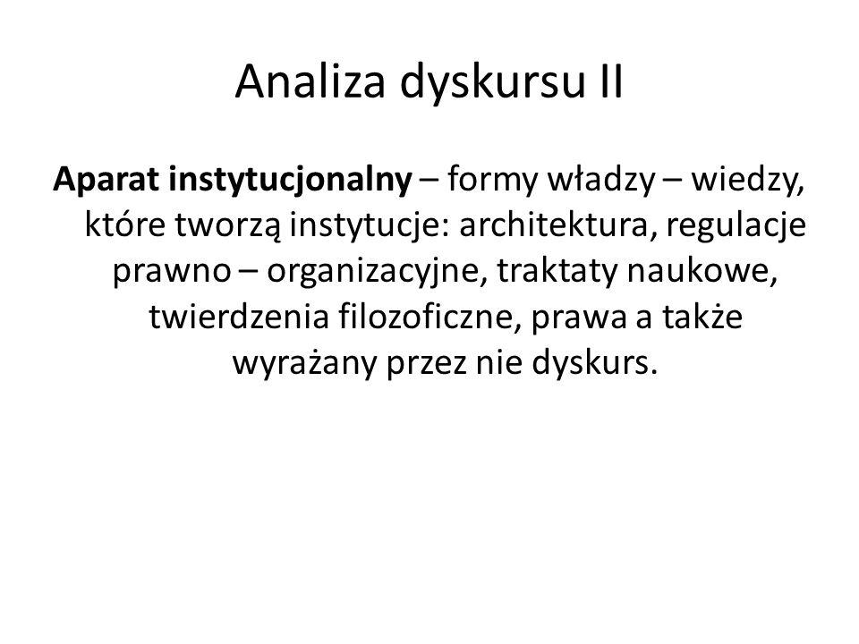 Analiza dyskursu II Aparat instytucjonalny – formy władzy – wiedzy, które tworzą instytucje: architektura, regulacje prawno – organizacyjne, traktaty