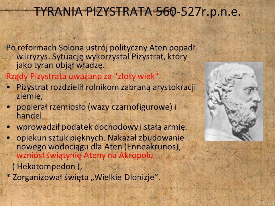 TYRANIA PIZYSTRATA 560-527r.p.n.e. Po reformach Solona ustrój polityczny Aten popadł w kryzys. Sytuację wykorzystał Pizystrat, który jako tyran objął
