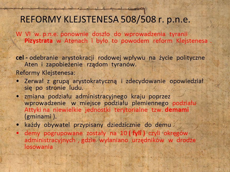 REFORMY KLEJSTENESA 508/508 r. p.n.e. W VI w. p.n.e. ponownie doszło do wprowadzenia tyranii Pizystrata w Atenach i było to powodem reform Klejstenesa