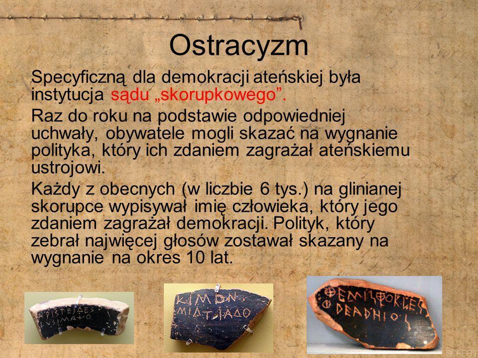 """Ostracyzm Specyficzną dla demokracji ateńskiej była instytucja sądu """"skorupkowego"""". Raz do roku na podstawie odpowiedniej uchwały, obywatele mogli ska"""