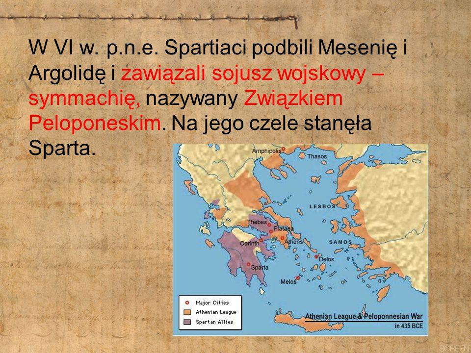 W VI w. p.n.e. Spartiaci podbili Mesenię i Argolidę i zawiązali sojusz wojskowy – symmachię, nazywany Związkiem Peloponeskim. Na jego czele stanęła Sp