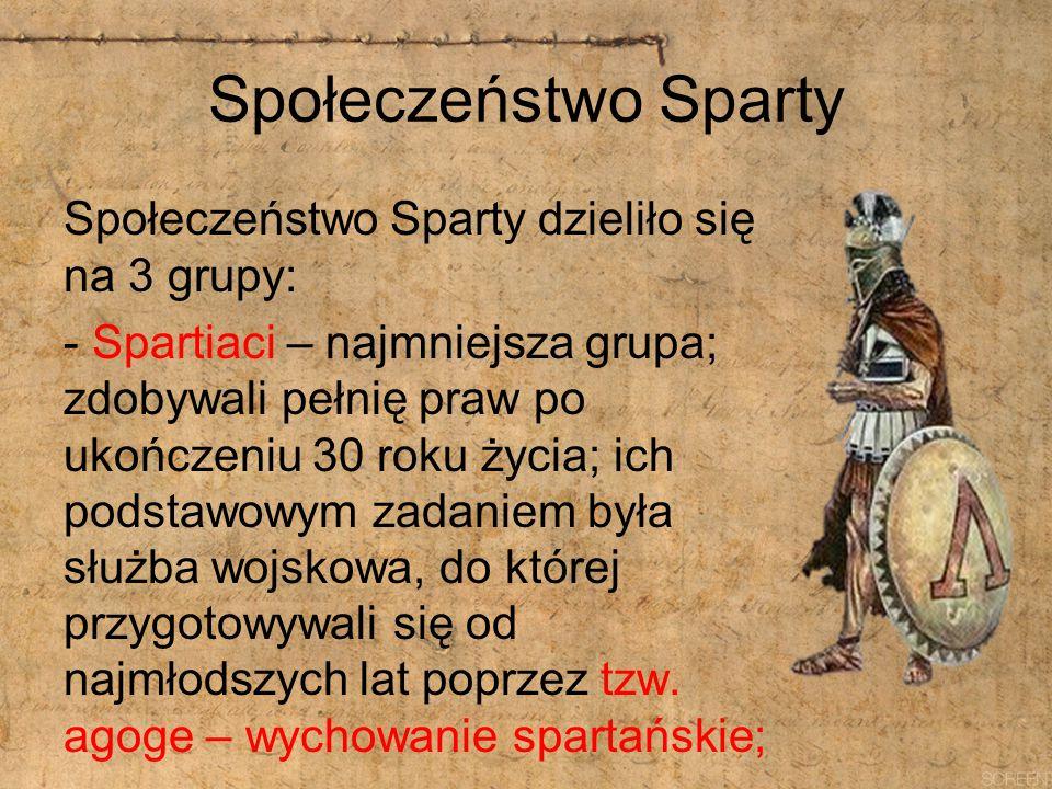 Społeczeństwo Sparty Społeczeństwo Sparty dzieliło się na 3 grupy: - Spartiaci – najmniejsza grupa; zdobywali pełnię praw po ukończeniu 30 roku życia;