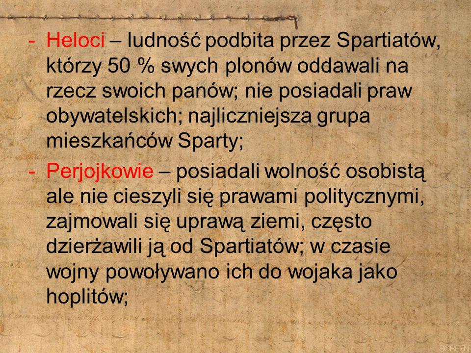 -Heloci – ludność podbita przez Spartiatów, którzy 50 % swych plonów oddawali na rzecz swoich panów; nie posiadali praw obywatelskich; najliczniejsza