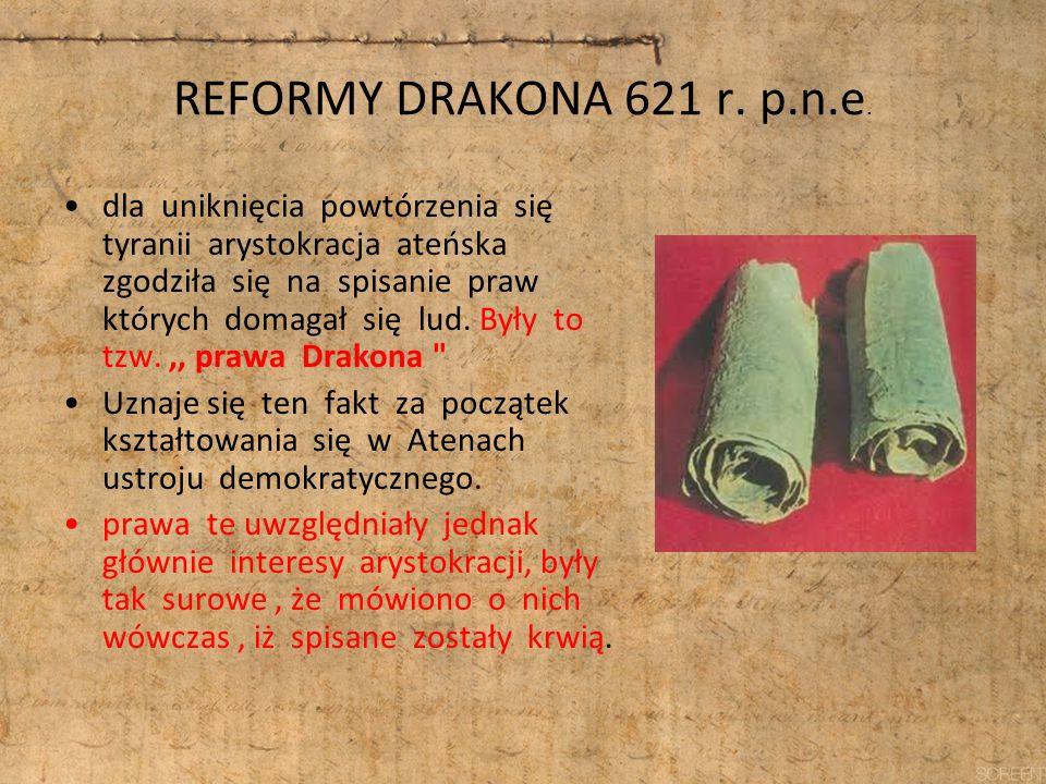 REFORMY DRAKONA 621 r. p.n.e. dla uniknięcia powtórzenia się tyranii arystokracja ateńska zgodziła się na spisanie praw których domagał się lud. Były