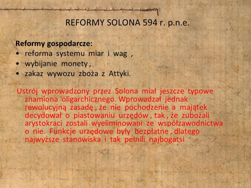 REFORMY SOLONA 594 r. p.n.e. Reformy gospodarcze: reforma systemu miar i wag, wybijanie monety, zakaz wywozu zboża z Attyki. Ustrój wprowadzony przez