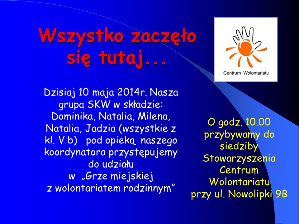 Wszystko zaczęło się tutaj... Dzisiaj 10 maja 2014r. Nasza grupa SKW w składzie: Dominika, Natalia, Milena, Natalia, Jadzia (wszystkie z kl. V b) pod