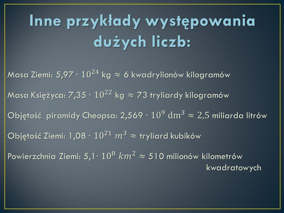 Inne przykłady występowania dużych liczb: