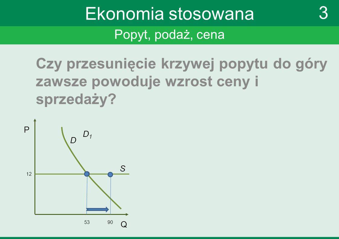 Popyt, podaż, cena 3 Ekonomia stosowana Czy przesunięcie krzywej popytu do góry zawsze powoduje wzrost ceny i sprzedaży? P Q 12 53 S D D1D1 90