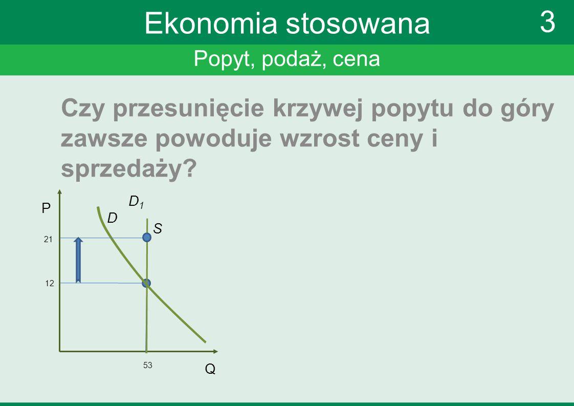 Popyt, podaż, cena 3 Ekonomia stosowana Czy przesunięcie krzywej popytu do góry zawsze powoduje wzrost ceny i sprzedaży? P Q 12 53 S D D1D1 21