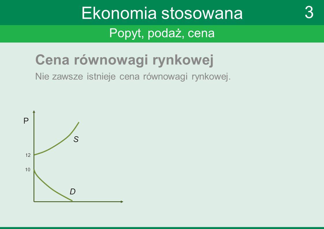 Popyt, podaż, cena 3 Ekonomia stosowana Cena równowagi rynkowej Nie zawsze istnieje cena równowagi rynkowej. P 12 S D 10