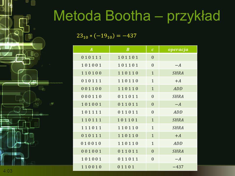 Metoda Bootha – przykład 4:05
