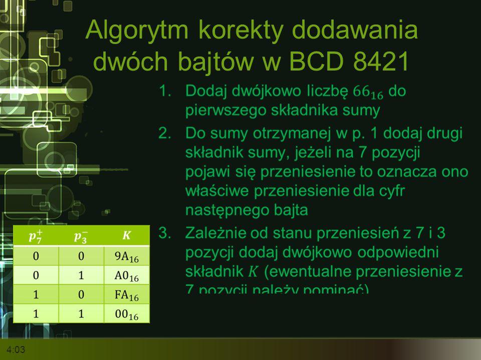 Algorytm korekty dodawania dwóch bajtów w BCD 8421 4:05