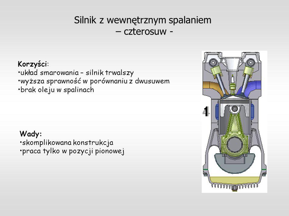 Silnik z wewnętrznym spalaniem – czterosuw - Korzyści: układ smarowania – silnik trwalszy wyższa sprawność w porównaniu z dwusuwem brak oleju w spalin
