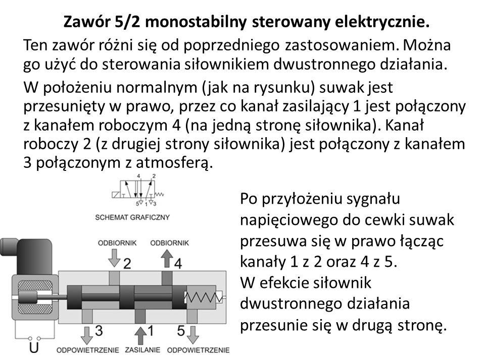 Zawór 5/2 monostabilny sterowany elektrycznie. Ten zawór różni się od poprzedniego zastosowaniem. Można go użyć do sterowania siłownikiem dwustronnego
