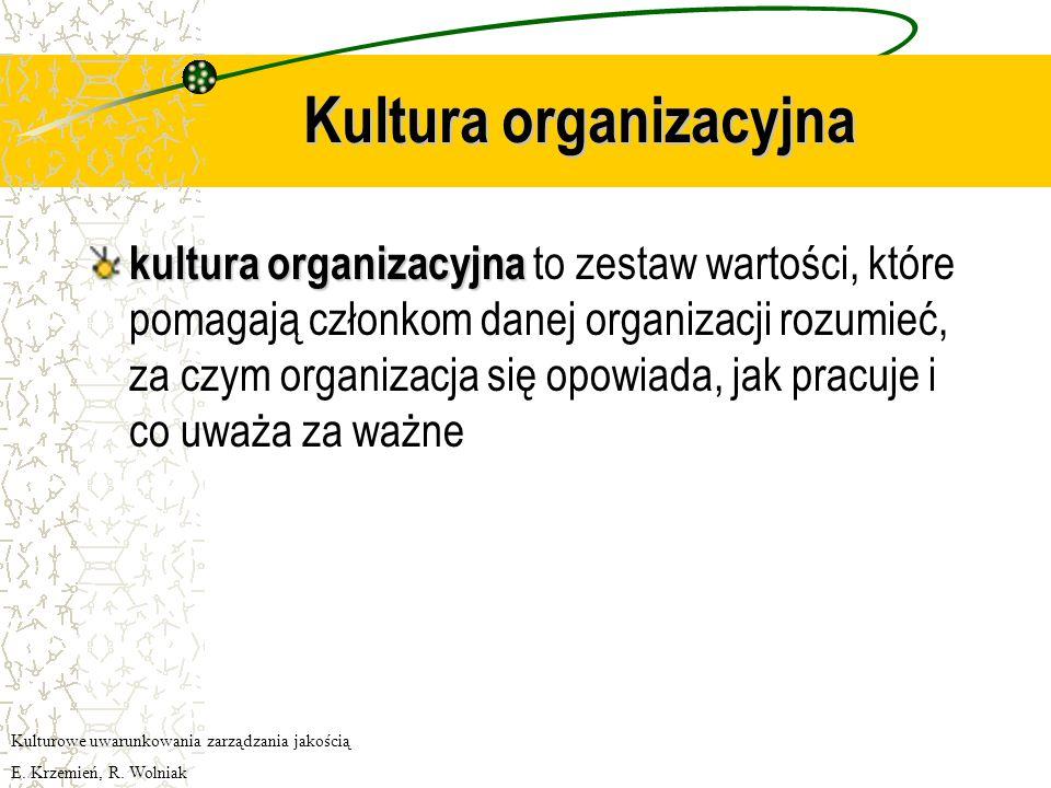 Kultura organizacyjna kultura organizacyjna kultura organizacyjna to zestaw wartości, które pomagają członkom danej organizacji rozumieć, za czym organizacja się opowiada, jak pracuje i co uważa za ważne Kulturowe uwarunkowania zarządzania jakością E.