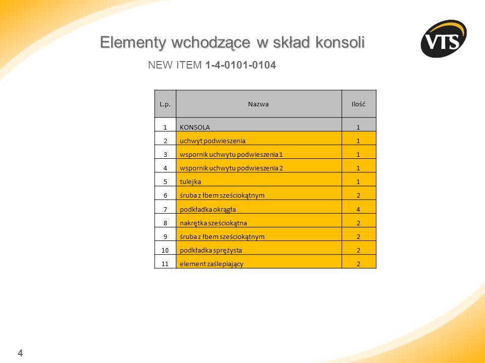 4 Elementy wchodzące w skład konsoli NEW ITEM 1-4-0101-0104 L.p.NazwaIlość 1 KONSOLA1 2 uchwyt podwieszenia1 3 wspornik uchwytu podwieszenia 11 4 wspo