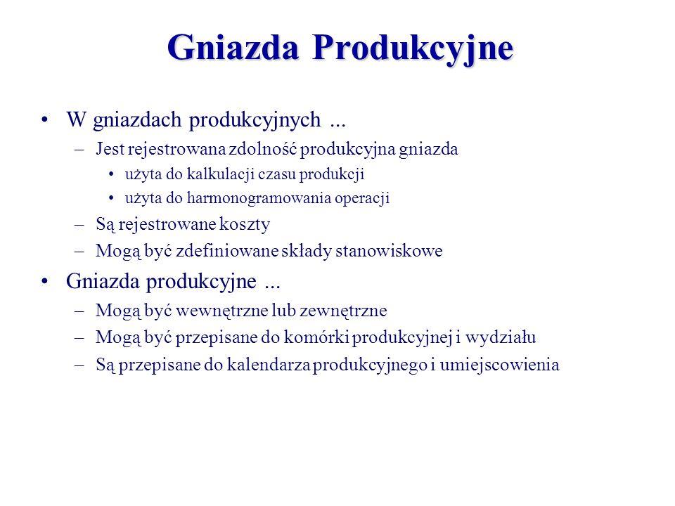 Gniazda Produkcyjne W gniazdach produkcyjnych... –Jest rejestrowana zdolność produkcyjna gniazda użyta do kalkulacji czasu produkcji użyta do harmonog