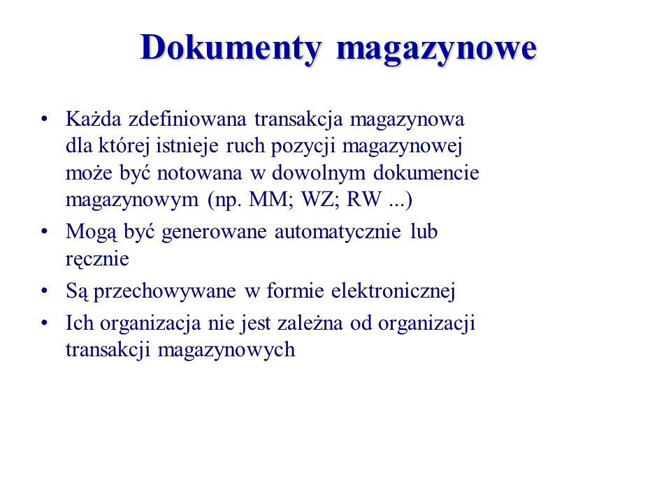 Każda zdefiniowana transakcja magazynowa dla której istnieje ruch pozycji magazynowej może być notowana w dowolnym dokumencie magazynowym (np. MM; WZ;