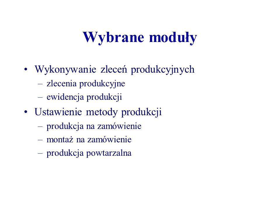 Wybrane moduły Wykonywanie zleceń produkcyjnych –zlecenia produkcyjne –ewidencja produkcji Ustawienie metody produkcji –produkcja na zamówienie –monta