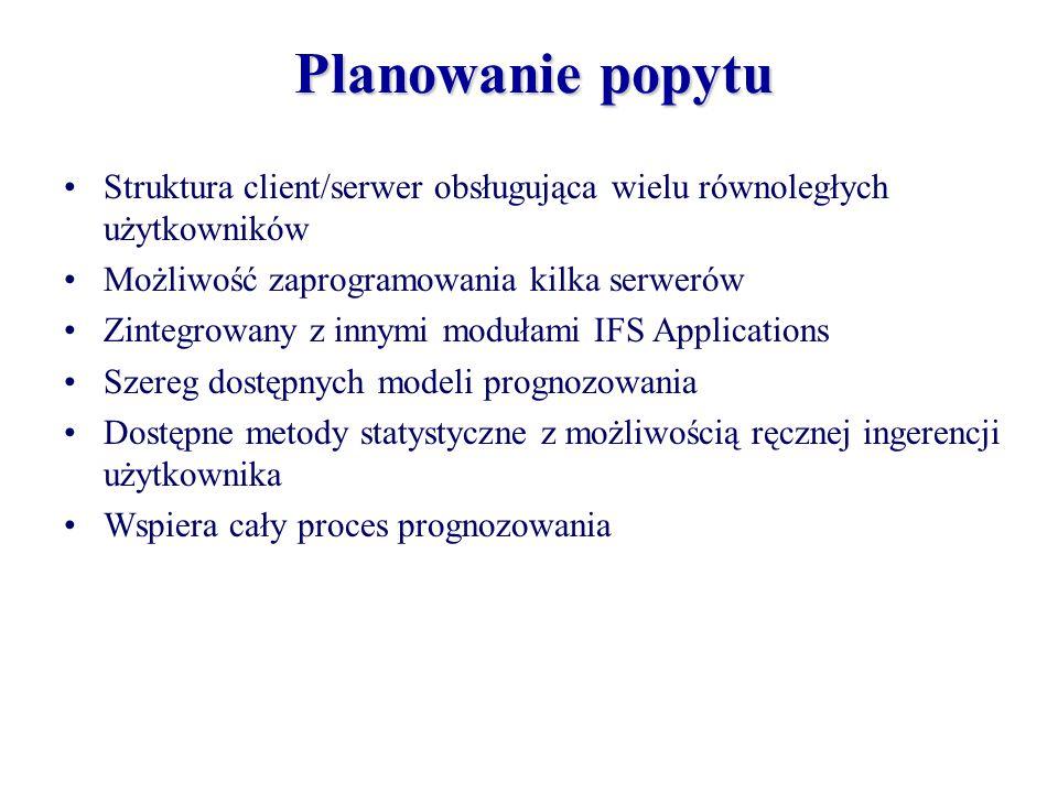 Planowanie popytu Struktura client/serwer obsługująca wielu równoległych użytkowników Możliwość zaprogramowania kilka serwerów Zintegrowany z innymi m
