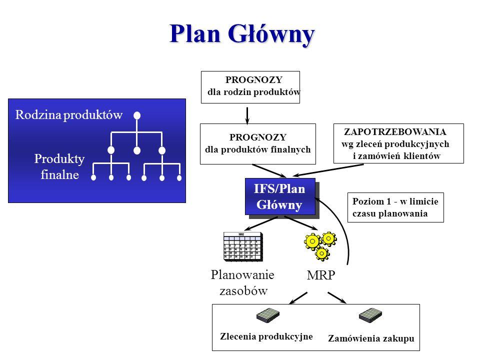 Plan Główny Rodzina produktów Produkty finalne Planowanie zasobów MRP IFS/Plan Główny IFS/Plan Główny Zlecenia produkcyjne Zamówienia zakupu PROGNOZY