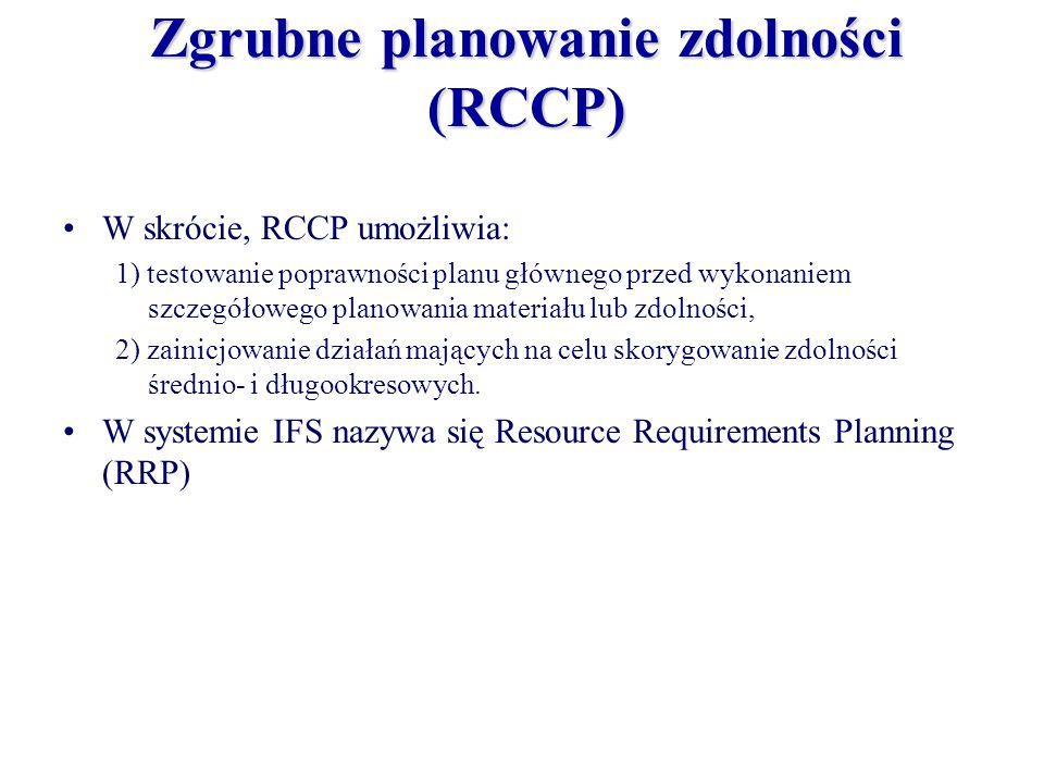 Zgrubne planowanie zdolności (RCCP) W skrócie, RCCP umożliwia: 1) testowanie poprawności planu głównego przed wykonaniem szczegółowego planowania mate