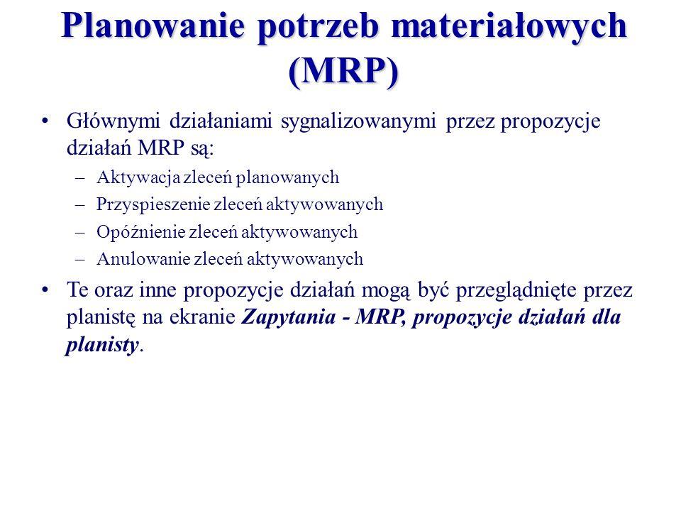 Planowanie potrzeb materiałowych (MRP) Głównymi działaniami sygnalizowanymi przez propozycje działań MRP są: –Aktywacja zleceń planowanych –Przyspiesz