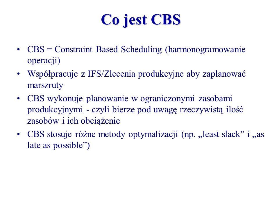 Co jest CBS CBS = Constraint Based Scheduling (harmonogramowanie operacji) Współpracuje z IFS/Zlecenia produkcyjne aby zaplanować marszruty CBS wykonu