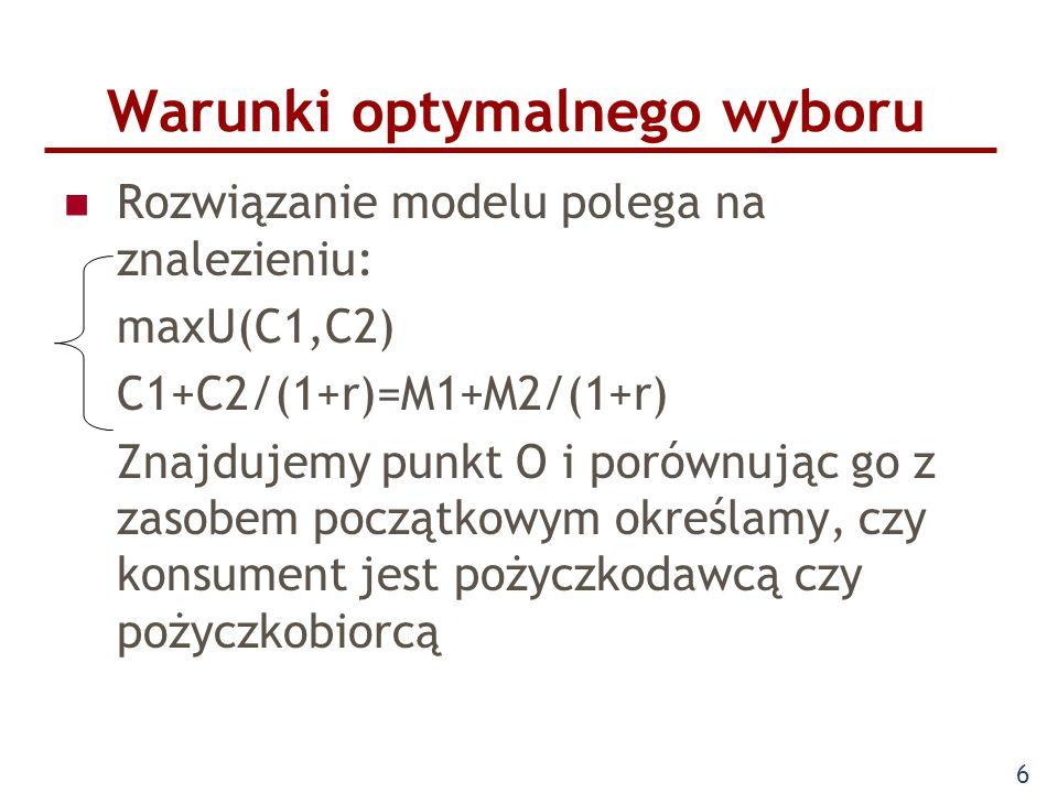 6 Warunki optymalnego wyboru Rozwiązanie modelu polega na znalezieniu: maxU(C1,C2) C1+C2/(1+r)=M1+M2/(1+r) Znajdujemy punkt O i porównując go z zasobe