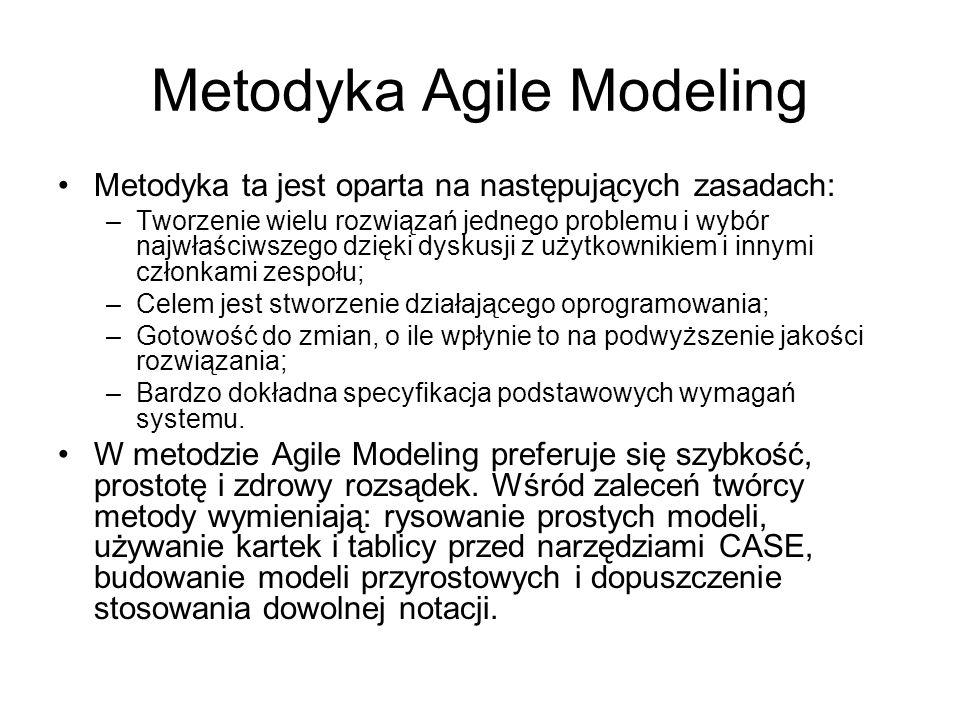 Metodyka Agile Modeling Metodyka ta jest oparta na następujących zasadach: –Tworzenie wielu rozwiązań jednego problemu i wybór najwłaściwszego dzięki dyskusji z użytkownikiem i innymi członkami zespołu; –Celem jest stworzenie działającego oprogramowania; –Gotowość do zmian, o ile wpłynie to na podwyższenie jakości rozwiązania; –Bardzo dokładna specyfikacja podstawowych wymagań systemu.