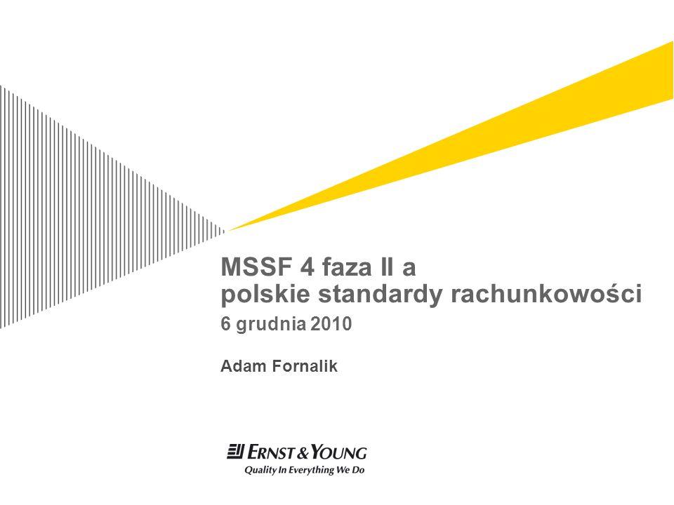 MSSF 4 faza II a PSR – 6 grudnia 2010 strona 32 Rachunek zysków i strat – model standardowy MSSF 4 faza 2 Rok 1Rok 2 Korekta na ryzyko Amortyzacja marży końcowej Marża za ryzyko (underwriting margin) Zyski i straty z wstępnego rozpoznania umowy ubezpieczeniowej (w tym inne niż zmienne koszty akwizycji) Korekty wynikające z doświadczenia (experience adjustment) Zyski i straty wynikające ze zmiany szacunków założeń Przychód inwestycyjny Odsetki od zobowiązań ubezpieczeniowych (rozwinięcie dyskonta) Przychód inwestycyjny netto Zysk