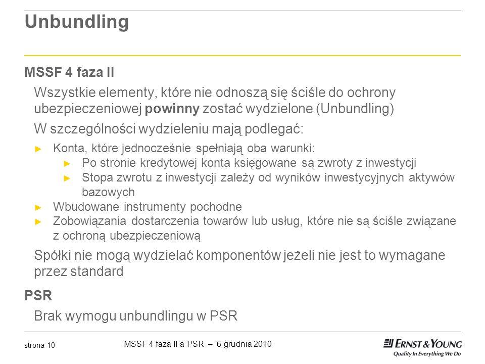 MSSF 4 faza II a PSR – 6 grudnia 2010 strona 10 Unbundling MSSF 4 faza II Wszystkie elementy, które nie odnoszą się ściśle do ochrony ubezpieczeniowej