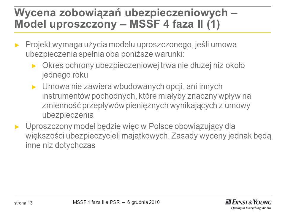 MSSF 4 faza II a PSR – 6 grudnia 2010 strona 13 Wycena zobowiązań ubezpieczeniowych – Model uproszczony – MSSF 4 faza II (1) ► Projekt wymaga użycia m