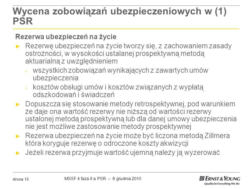 MSSF 4 faza II a PSR – 6 grudnia 2010 strona 15 Wycena zobowiązań ubezpieczeniowych w (1) PSR Rezerwa ubezpieczeń na życie ► Rezerwę ubezpieczeń na ży