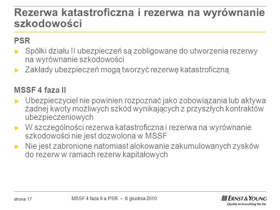 MSSF 4 faza II a PSR – 6 grudnia 2010 strona 17 Rezerwa katastroficzna i rezerwa na wyrównanie szkodowości PSR ► Spółki działu II ubezpieczeń są zobli