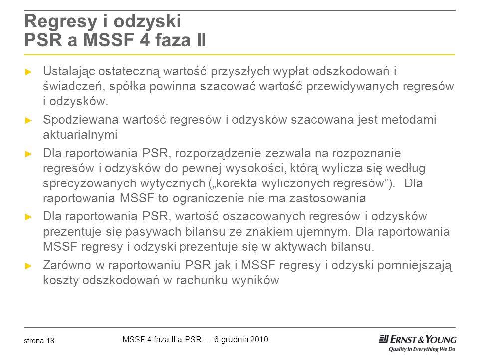 MSSF 4 faza II a PSR – 6 grudnia 2010 strona 18 Regresy i odzyski PSR a MSSF 4 faza II ► Ustalając ostateczną wartość przyszłych wypłat odszkodowań i