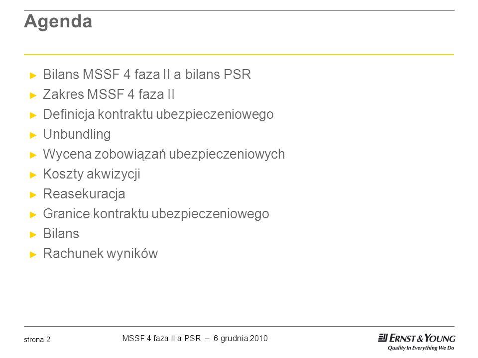 MSSF 4 faza II a PSR – 6 grudnia 2010 strona 3 Bilans MSSF i bilans PSR Bilans MSSF MSSF 4 faza II Bilans statutowy Zobowiązania 'best estimate' Narzut eliminujący zysk (Residual margin) Narzut na ryzyko (Risk margin) PasywaAktywa Kapitały Rezerwy Techniczne Polskie standardy rachunkowości AktywaPasywa Rezerwy Techniczne Kapitały